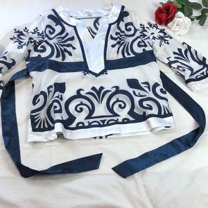 Cato Blue and White Pattern Shirt XL
